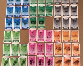 Cards from Waddingtons Ratrace vintage board game 1980's game cards