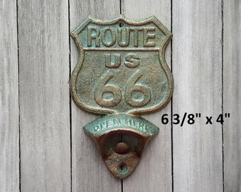 Route 66 Bottle Opener, Cast Iron Bottle Opener, Vintage Bottle Opener, Rustic Bottle Opener, Groomsmen Gift, Man Cave Decor, Gifts for Him