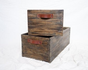 2-pack rustic wooden boxes