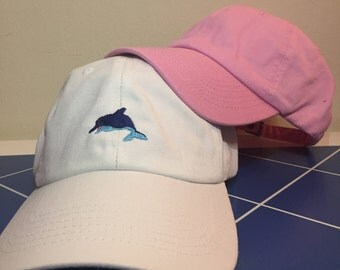 Dolphin Embroidered Unstructured 100% Cotton Polo Adjustable Baseball Dad Hat