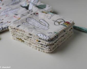 Lingettes lavables bébé et pochette de rangement, lingettes démaquillantes lavables, écologiques, pochon en coton, cactus, 0 déchet, éponge