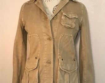 90s Beige Denim Safari Jacket Vintage Distressed J Crew