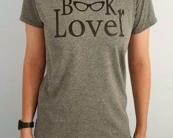 Librarian, Book Lover, Bibliophile, Screen-printed Statement T-shirt in Gray
