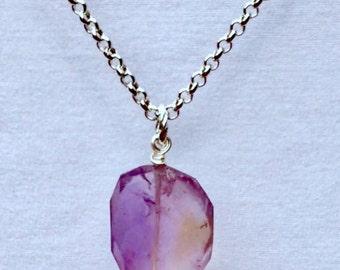 Natural Ametrine Gemstone Pendant  Necklace!