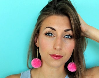 Small Pom Pom Drop Bar Earrings - Gold Plated - Colour options available