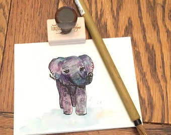 Hand painted watercolor baby elephant