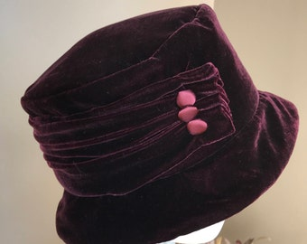 Vintage 90s Burgundy Velour Cloche Hat Betmar NewYork