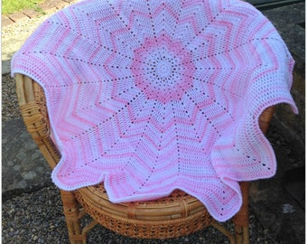 Hand crochet baby blanket, 12 pointed star design in white and shades of pink, baby shower gift, baby girl's blanket, one only,