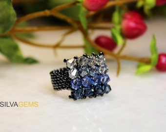 Beautiful Sapphire Blue Swarovski Crystals Handmade Beaded Ring for Her. Multishade Blue Ring. Blue and Steel Band Ring. Statement Ring.