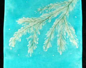 "Hand-painted 100% silk scarf ""Snowy Firs on Turquoise"""