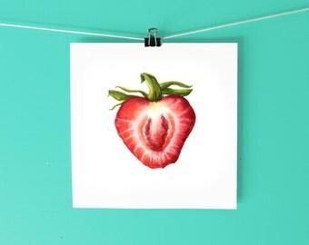 Strawberry Art Print / Hand-drawn watercolor botanical illustration / Botanical watercolor print / Fruit Art