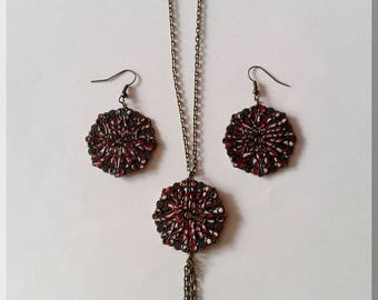 Necklace - Round earrings red black white