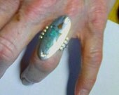 Vintage Peyote Bird turquoise and coral chip ring