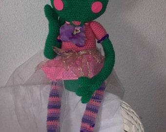 Beautiful Green Frog crochet sweetness of 64 cm