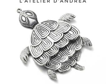 Articulated turtle pendant, silver or gold metal, 68 x 50 x 3, 2 mm hole