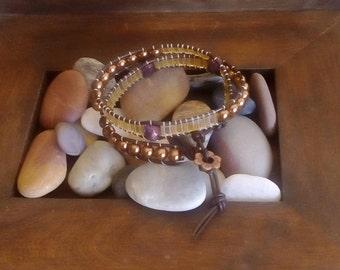 Two wrap handmade bracelet, adjustable