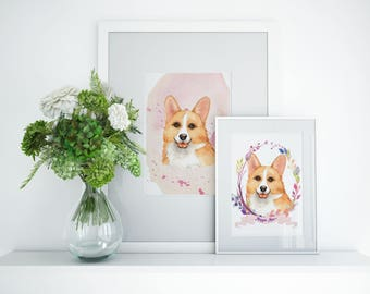 Corgi Personalized Dog Art Prints | Two For The Price of One | Free Shipping USA