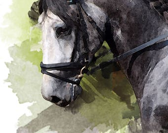 Horse Poster- Custom watercolor print digital commission portrait of your horse in a watercolour effect made to order