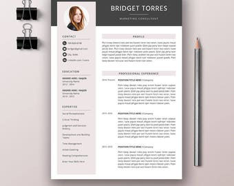 Creative Resume Template, Professional CV Resume Word, Cover Letter, References Template, Modern Resume Design, Instant Download, BRIDGET