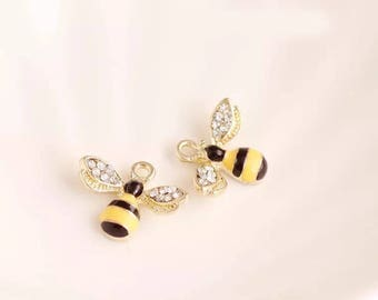 5/10pcs of Bee Charms Honey Bee Charm Polished Insect Charm Flying Animal Charm Enamel Charm DIY Jewelry Supplies Top Quality 14x18mm EC047