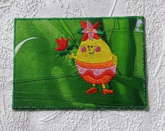 Happy Easter card Textile card Greeting card Birthday card Art card Handmade card Wall art Postcard Spring card Funny yellow egg