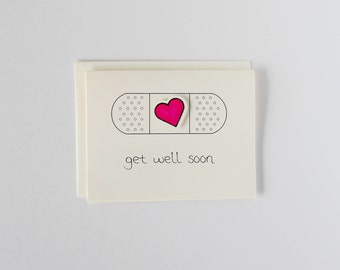 Get Well Soon Card - Heart Band-aid - Oh Goodness Paper Co