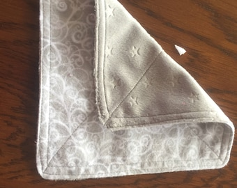 Grey Minky and Flannel Facecloth Trio