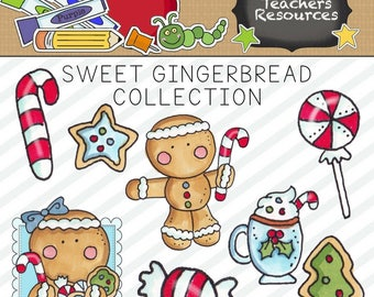 Sweet Gingerbread Clipart for Scrapbooking and Paper Crafts, Commercial Use, Christmas Clipart, Digital Design, Instant Download