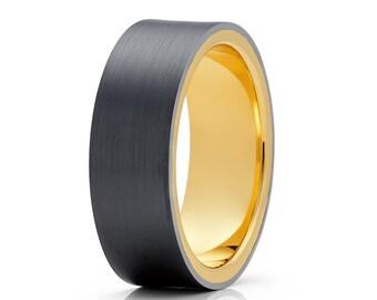 Black Zirconium Wedding Band 14k Yellow Gold Ring Black Zirconium Wedding Ring Engagement Band Grey Wedding Ring