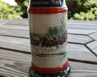 """Budweiser Collector's Beer Stein """"An American Tradition,"""" 1990, Near Mint, Boyfriend Gift, Gift for Brother, Gift for Dad, Snow, Vintage"""