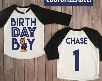 Paw Patrol Birthday Shirt, personalized paw patrol, personalized chase, paw patrol birthday, paw patrol party, birthday boy raglan
