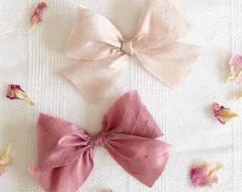 Dupioni Silk Bows - Blush - Dusty Rose