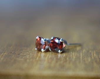 4mm Red Mozambique Garnet & Sterling Silver Claw Stud Earrings, Gemstone Jewelry UK, January Birthstone, Gift for Wife