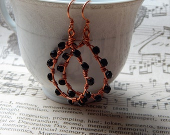 Copper wire and Czech glass earrings