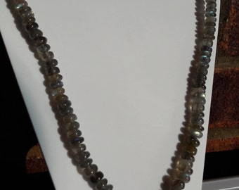 Necklace 20 long Labradorite rondelles 5-2mm to 9-4mm with a centre pendant 30mm