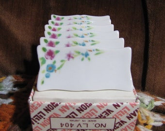 Vintage Set of 6 Lillian Vernon Ceramic Name Card Party Place Holders circa 1950s in Original Boxes!