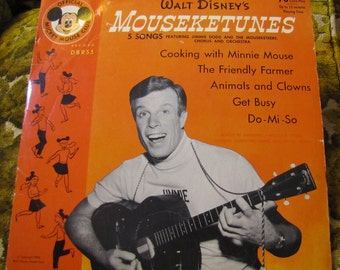 Vintage Disney Children's Record LP - 78 RPM - Walt Disney's Mouseketunes 5 Songs w Jimmie Dodd and the Mouseketeers 1955