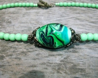 green&black necklace