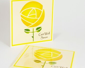 Hand Painted & Handmade Greeting Card : Get Well Soon Rose (15cm x 15cm)