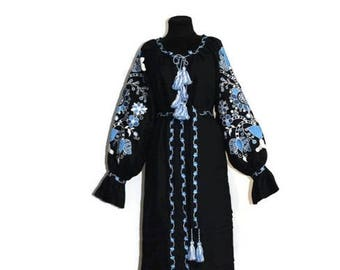 Bohemian Clothing Vyshyvanka Dress Custom Embroidery Boho Ukrainian Dresses Kaftan Dubai Abaya Ethnic Ukraine Boho Vishivanka