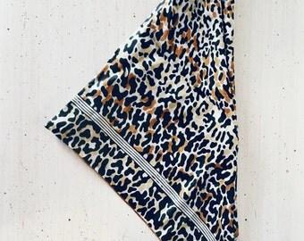 Vintage Leopard Print Scarf, Animal Print Scarf, Hand Rolled Scarf, Vintage Leopard Print, Animal Print Headscarf, Retro Scarf