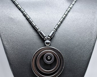Black Concentric Circle Necklace