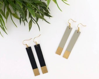 GOLD DIPPED Leather Bar Earrings - Black & Grey; Leather Earrings, Statement Earrings, Accessories, Jewelry