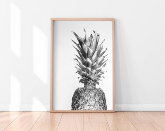 Black and white Pineapple Wall Art, Pineapple Printable, Pineapple Poster, Pineapple Art Print, Printable Wall Art, Kitchen Printable Art