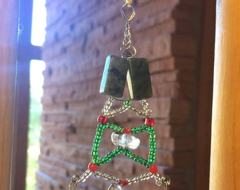 Green Serpentine and Clear Quartz Crystal Hanging Ornament