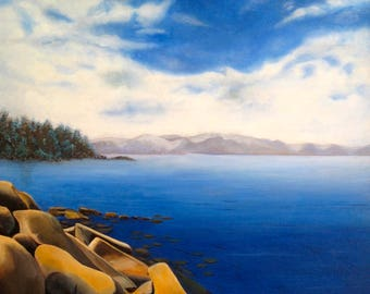 Lake Tahoe/Scenic Lake/Deep Blue Lake/Oil Painting/numbered giclee canvas print/Lake Tahoe Rocks and water/water/lake