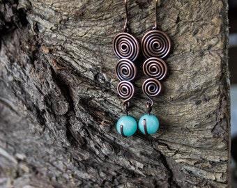 Amazonite spiral copper earrings