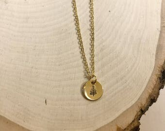 """Gold filled .37"""" coin necklace"""