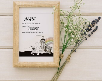 Customized Bible phase for your Kids Room, Nursery Decor, Caligraphy with Illustration