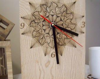 Modern wooden desk clock Mandala and others: Wooden desk clock interior decor gift idea